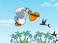 Пеликан ловит рыбу